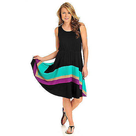 712-373 - Kate & Mallory Stretch Knit Sleeveless Color Block Stripe Flip Flop Dress