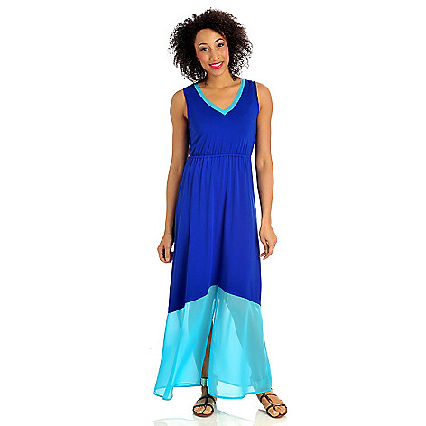 712-375 - Kate & Mallory® Stretch Knit Chiffon Trimmed Color Block Maxi Dress