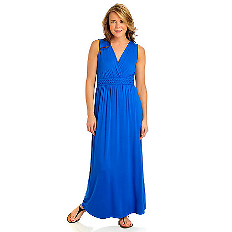 712-376 - Kate & Mallory Stretch Knit Sleeveless Braided Empire Maxi Dress