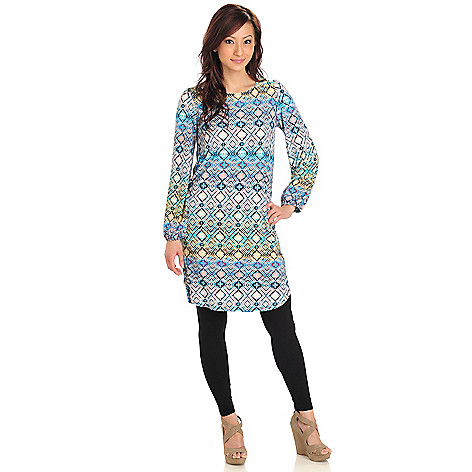 712-408 - Kate & Mallory Stretch Knit Balloon Sleeved Scoop Neck Shift Dress