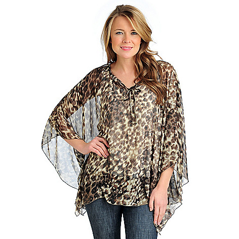 712-409 - Kate & Mallory Printed Yoryu Poncho Sleeved Peasant Blouse w/ Knit Layer Cami
