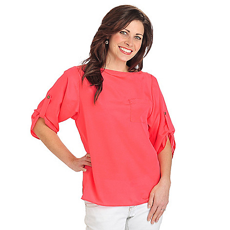 712-411 - Kate & Mallory Crepe Roll Tab Sleeved One-Pocket Boat Neck Blouse