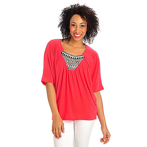 712-417 - Kate & Mallory Stretch Knit Dolman Sleeved Sequin Bib Poncho Top
