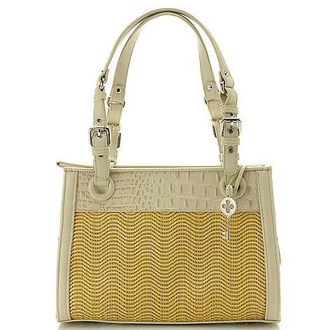 712-423 - Madi Claire Croco Embossed Leather ''Dana'' Double Handle Tote Bag