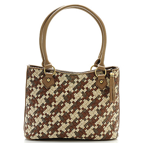 712-427 - Madi Claire Croco Embossed Leather ''Caryn'' Tasseled Zip Top Woven Tote Bag