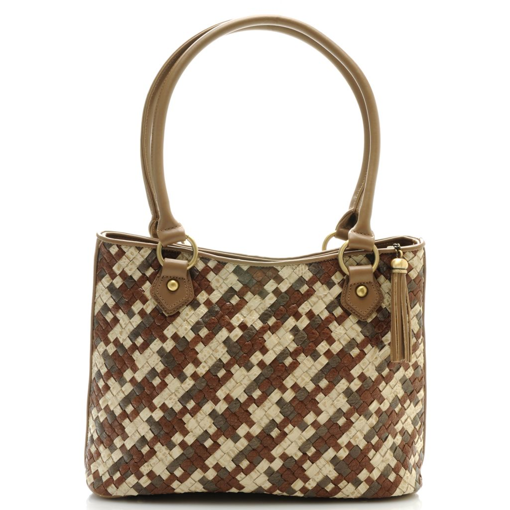 712-427 - Madi Claire Croco Embossed Leather Tasseled Zip Top Woven Tote Bag
