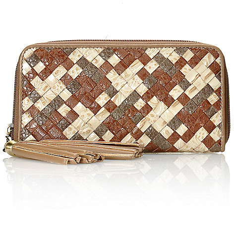 712-430 - Madi Claire Croco Embossed Leather ''Caryn'' Tasseled Woven Zip Around Wallet