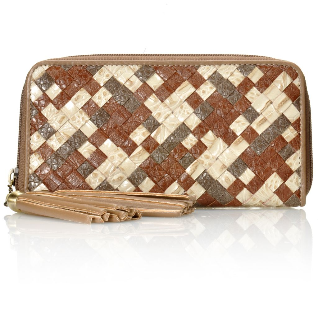 712-430 - Madi Claire Croco Embossed Leather Tasseled Woven Zip Around Wallet