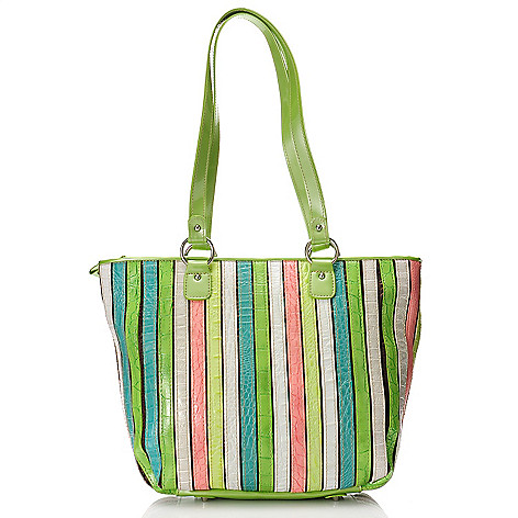 712-434 - Madi Claire Croco Embossed Leather ''Kristin'' Multi Color Large Tote Bag