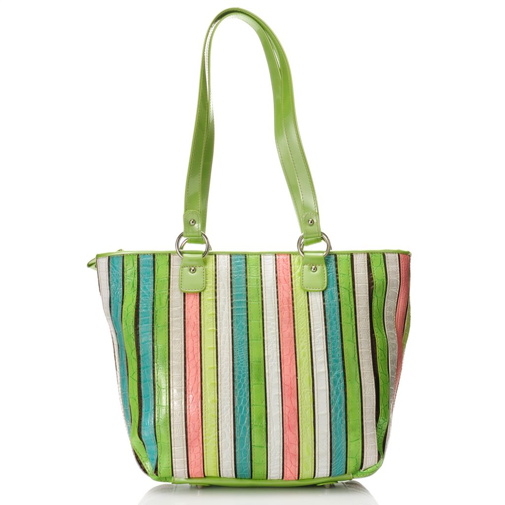 "712-434 - Madi Claire Croco Embossed Leather ""Kristin"" Multi Color Large Tote Bag"