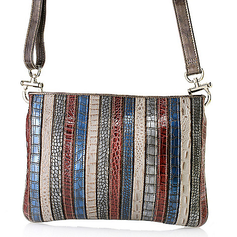 712-435 - Madi Claire ''Kristin'' Reptile Embossed Leather Striped Multi Color Cross Body Bag