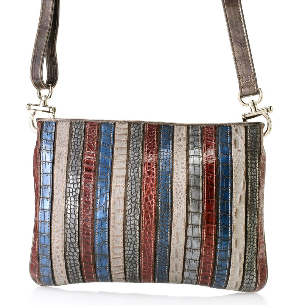 "712-435 - Madi Claire Croco Embossed Leather ""Kristin"" Multi Color Cross Body Bag"
