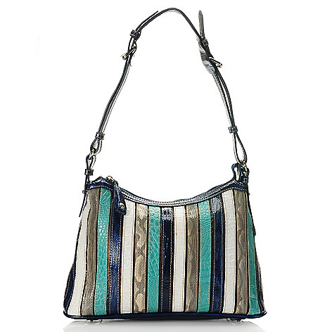712-436 - Madi Claire ''Kristin'' Croco Embossed Leather Multi Color Striped Shoulder Bag