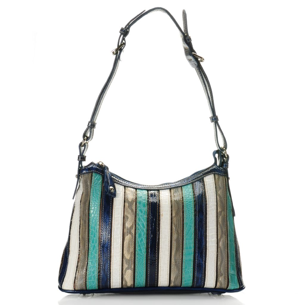 712-436 - Madi Claire Croco Embossed Leather Multi Color Striped Shoulder Bag