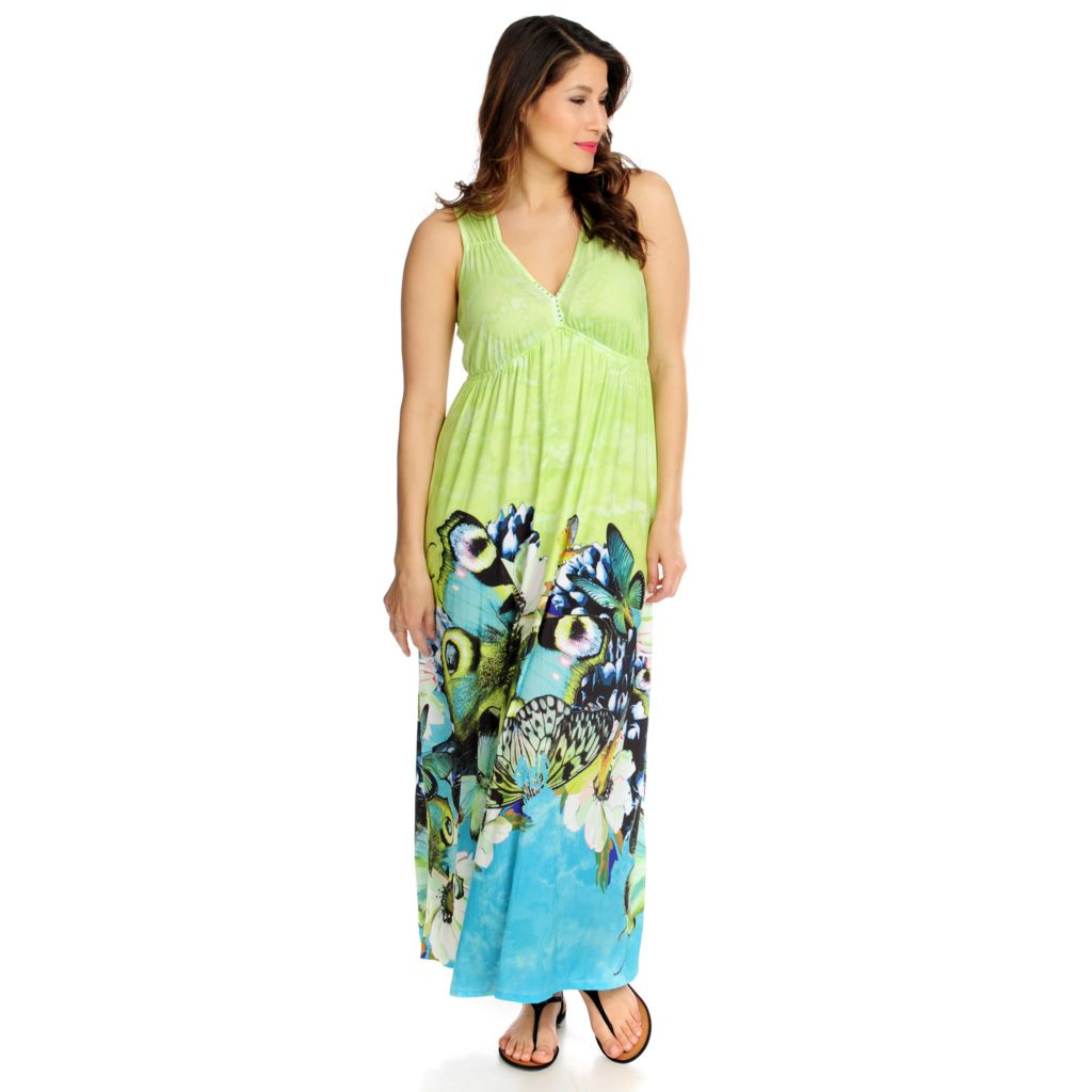 712-437 - One World Micro Jersey Knit Empire Waist Border Printed Maxi Dress
