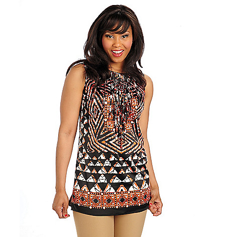 712-458 - WD.NY Print Woven Sleeveless Fringed Front Tunic Top