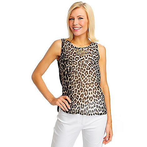 712-464 - WD.NY Printed Georgette Knit Back Sleeveless Stud Neckline Top