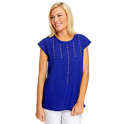 712-465 - WD.NY Georgette Cap Sleeved Stud Detailed Knit Back Top