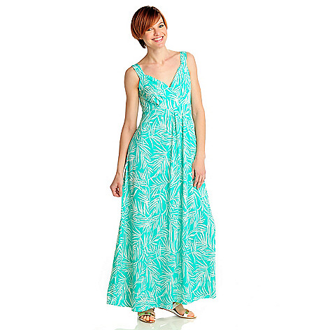 712-470 - Geneology Stretch Knit Sleeveless Crossover Front Printed Maxi Dress