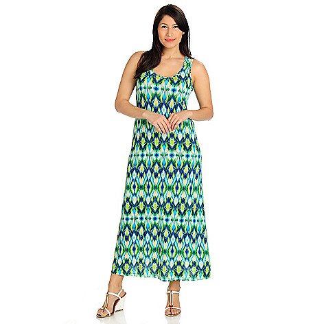 712-475 - aDRESSing WOMAN Stretch Knit Sleeveless Scoop Neck Printed Maxi Dress