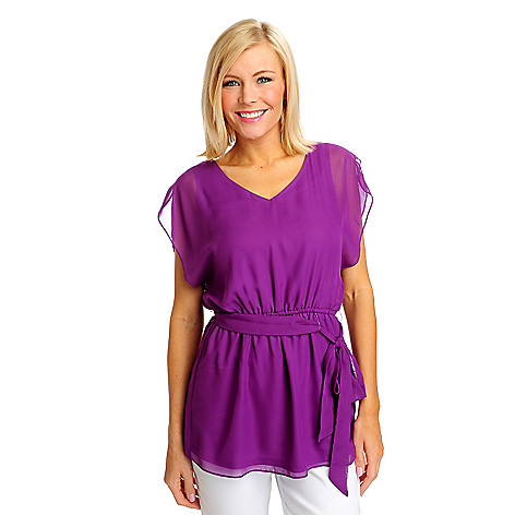 712-481 - aDRESSing WOMAN Woven Cap Sleeved Tie Waist Blouson Tunic