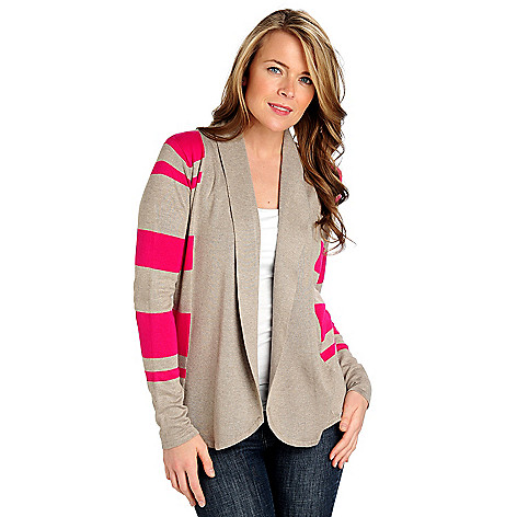 712-483 - Geneology Fine Gauge Knit Long Sleeved Open Front Cardigan Sweater