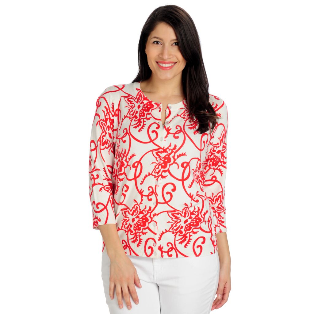 712-484 - Geneology Fine Gauge Knit 3/4 Sleeved Pearlized Button Front Cardigan Sweater