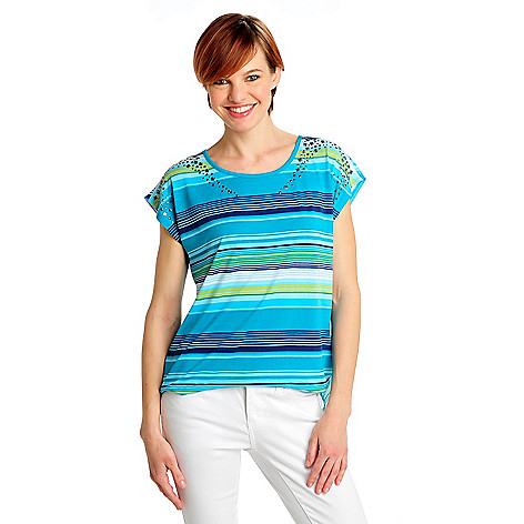 712-487 - One World Knit Woven Combo Dolman Sleeved Stud Detail Hi-Lo Top