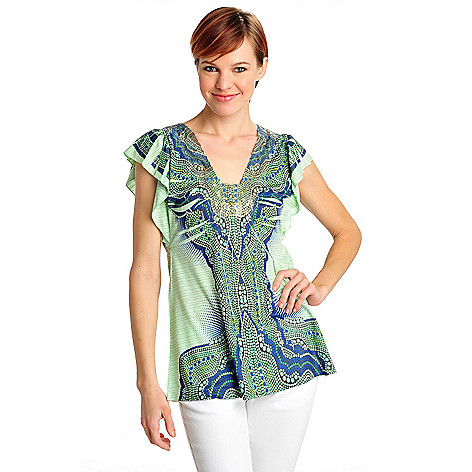 712-488 - One World Print Knit Flutter Sleeved Metallic Striped Top