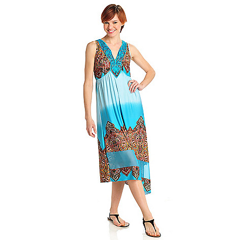 712-493 - One World Micro Jersey Knit Crochet V-Neck Asymmetrical Hem Ombre Print Dress
