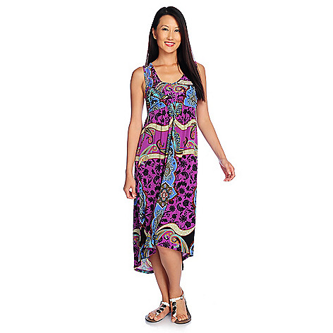 712-494 - One World Stretch Knit Sleeveless Bling Front Hi-Lo Maxi Dress