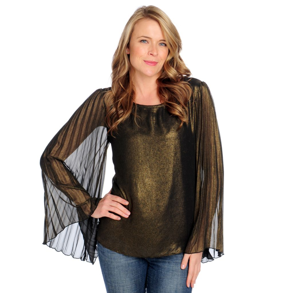 712-497 - Love, Carson by Carson Kressley Woven Pleated Sleeve Scoop Neck Top
