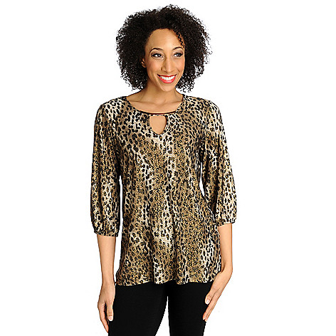 712-498 - Love, Carson by Carson Kressley Stretch Knit 3/4 Sleeved Keyhole Neck Top