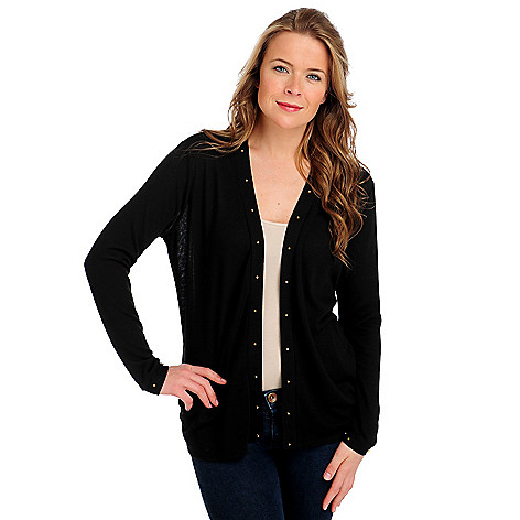 712-499 - Love, Carson by Carson Kressley Sweater Knit Long Sleeved Stud Cardigan