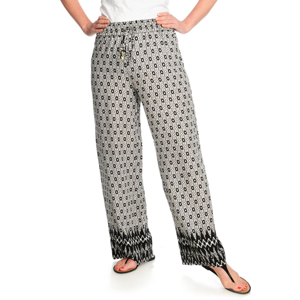 712-500 - Love, Carson by Carson Kressley Print Challis Elastic Waisted Pull-on Pants