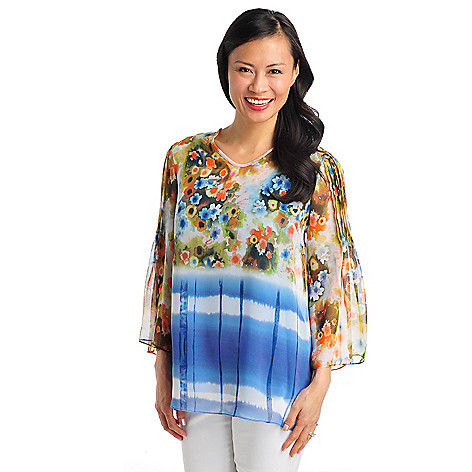 712-502 - Kate & Mallory Print Chiffon Pin Tuck Sleeve Tunic Blouse w/ Knit Layer Cami