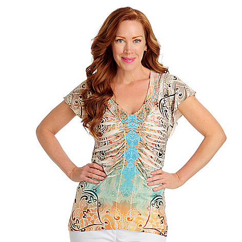 712-512 - One World Micro Jersey Flutter Sleeved Ruched Front Hi-Lo Top