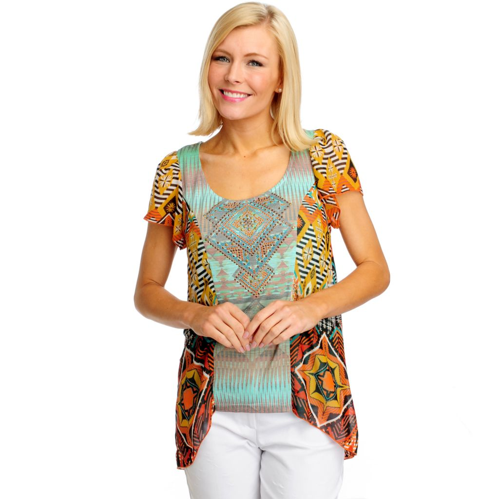 712-516 - One World Chiffon Knit Combo Flutter Sleeved Embellished Hi-Lo Top