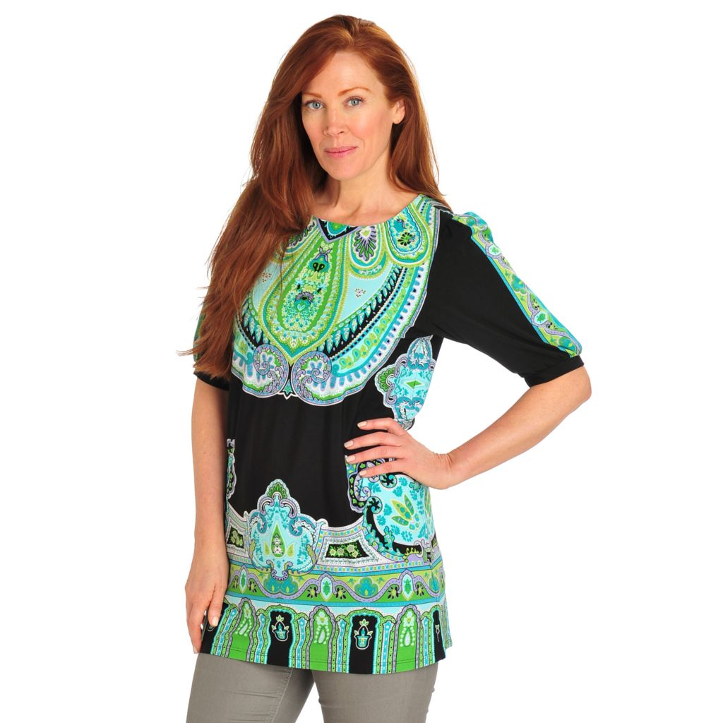 712-530 - Geneology Stretch Knit Blouson Sleeved Scoop Neck Tunic