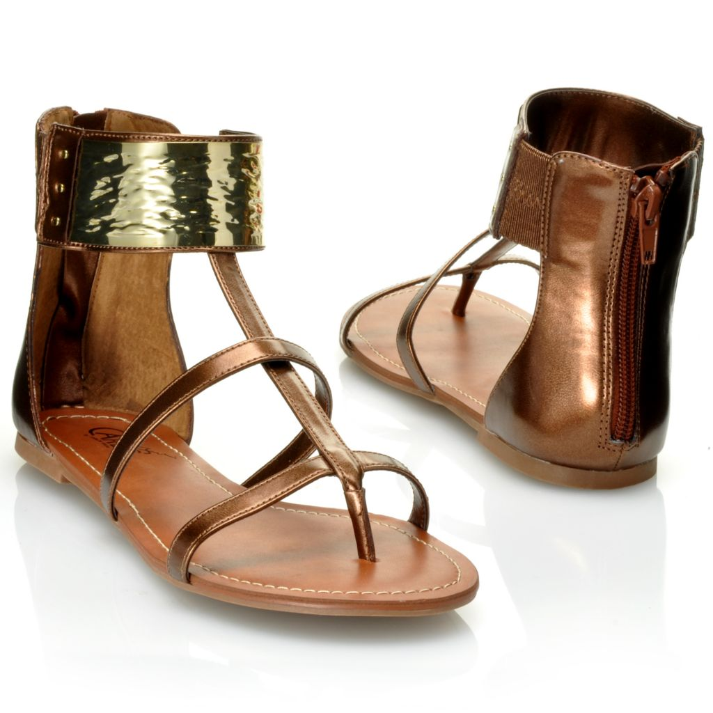 "712-536 - Carlos by Carlos Santana ""Flavia"" Back Zip Metallic Sandals"
