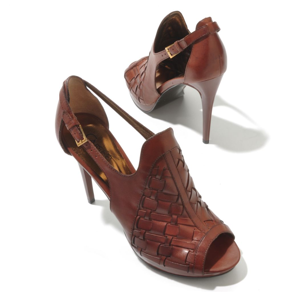 "712-540 - Carlos by Carlos Santana Woven Leather ""Legendary"" Peep Toe Stilettos"