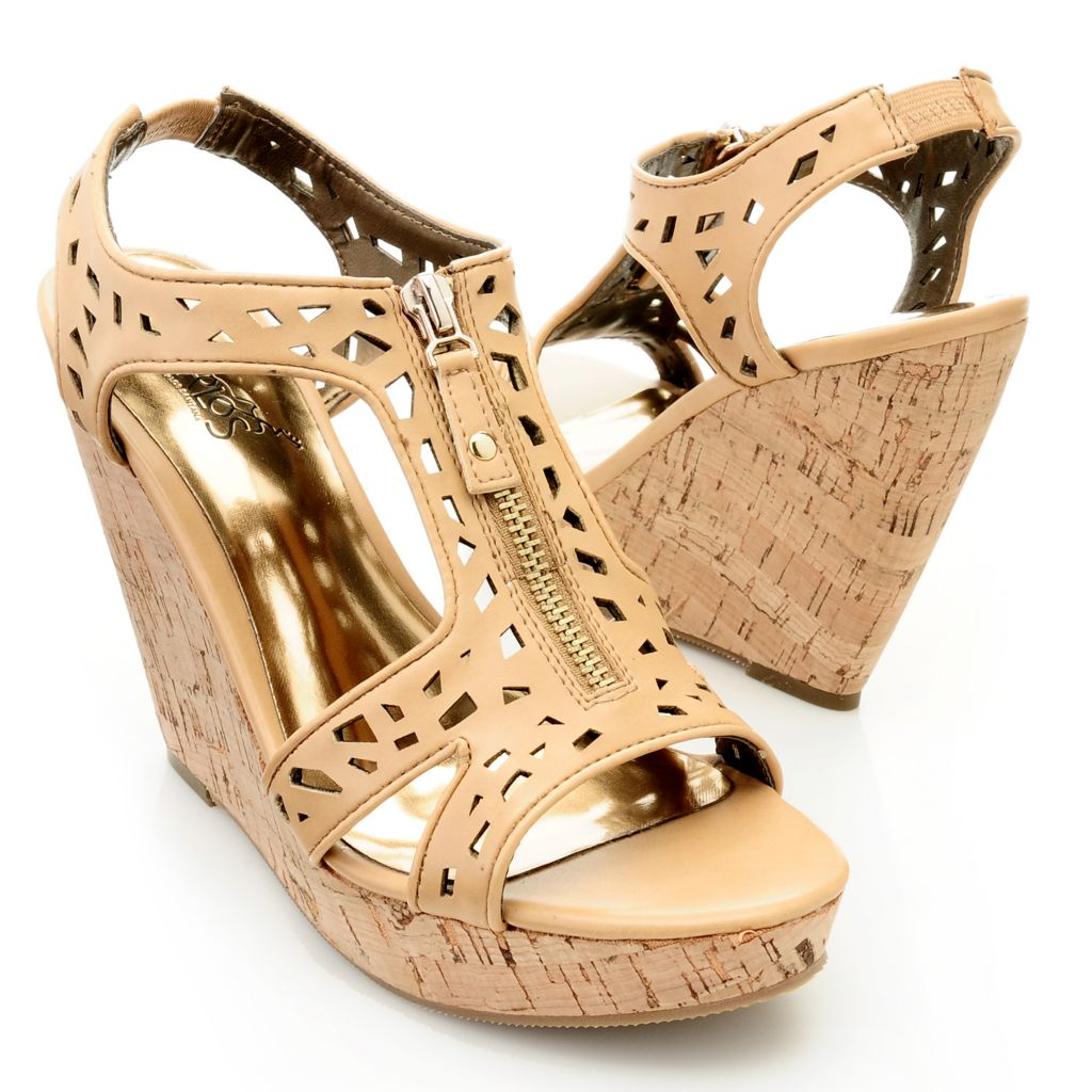 "712-544 - Carlos by Carlos Santana ""Geneva"" Zipper Detailed Cut-out Wedges"