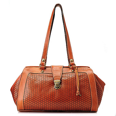 712-557 - Patricia Nash Perforated Leather ''Corte'' Double Handle Frame Satchel