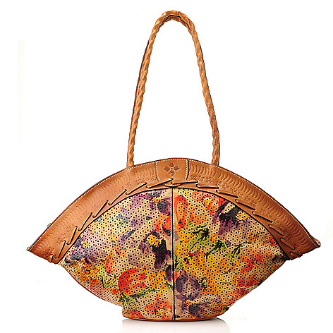 712-561 - Patricia Nash Perforated Leather ''Trope'' Fan-Style Dome Tote Bag