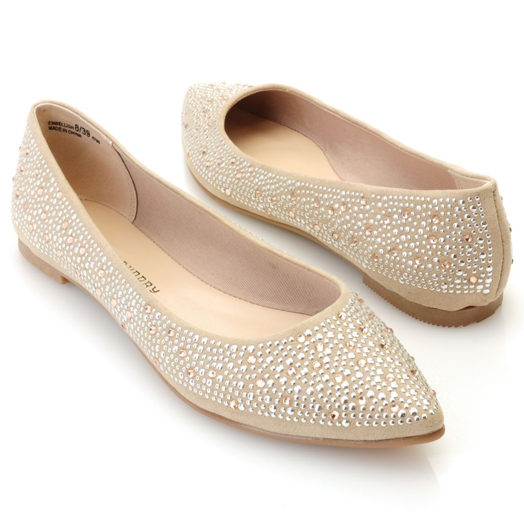 "712-567 - Chinese Laundry ""Embellish"" Rhinestone & Stud Detailed Ballet Flats"