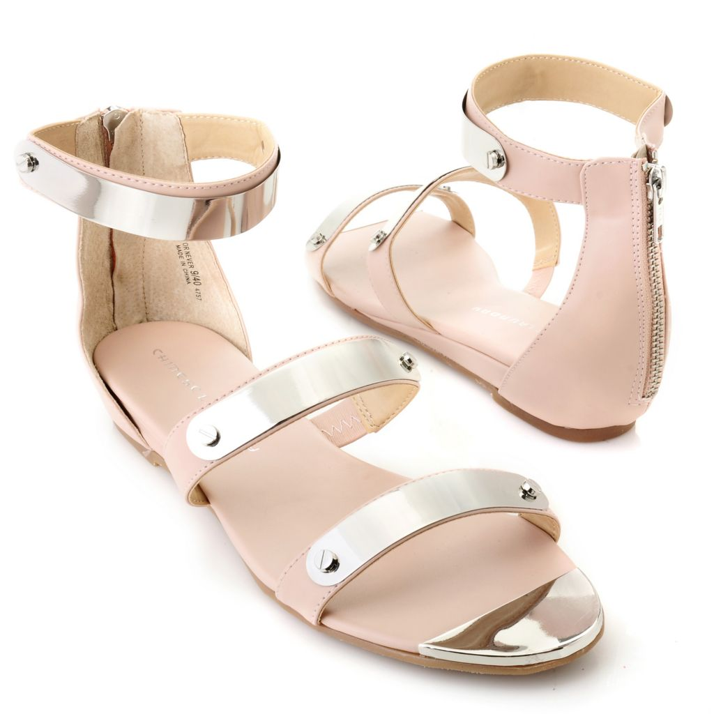 "712-571 - Chinese Laundry Leather ""Now or Never"" Back Zip Sandals"