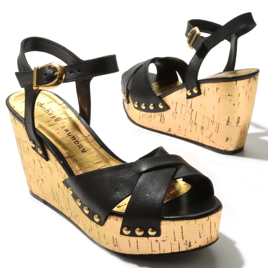 "712-573 - Chinese Laundry Leather ""Give it a Go"" Metallic Wedge Sandals"