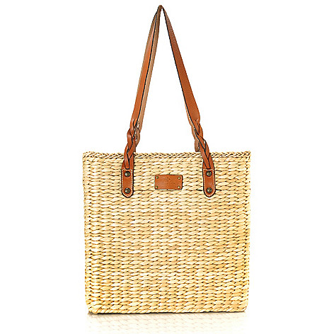 712-584 - Patricia Nash Woven Straw Double Handle Large Tote Bag