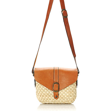 712-585 - Patricia Nash Woven Straw Flap Over Cross Body Bag