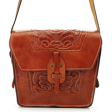712-586 - Patricia Nash Tooled Leather Flap Over Cross Body Bag